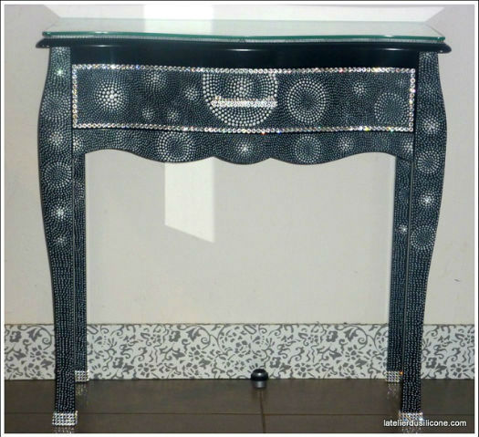 meuble deco original console noire 1 tiroir